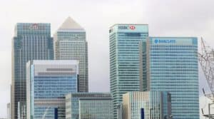 Skyline with names of multiple banks