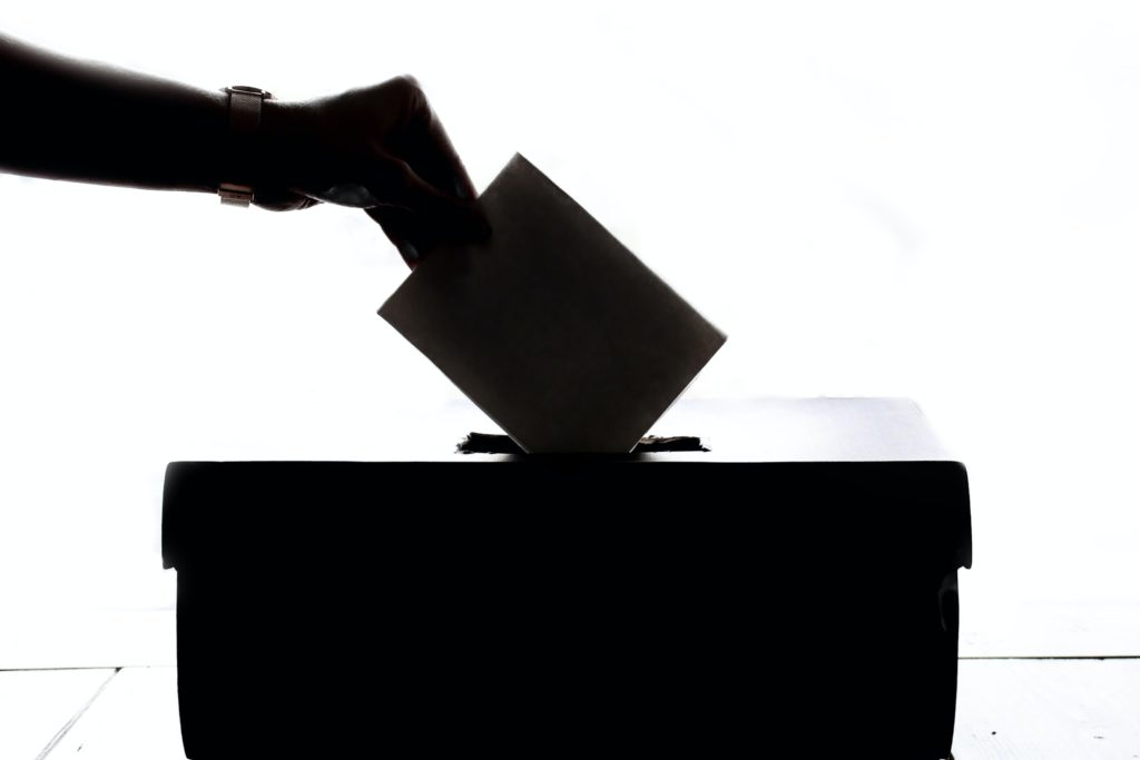 silhouette of person dropping ballot in box