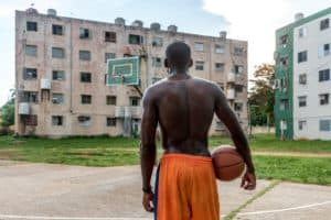 Picture of man on basketball court