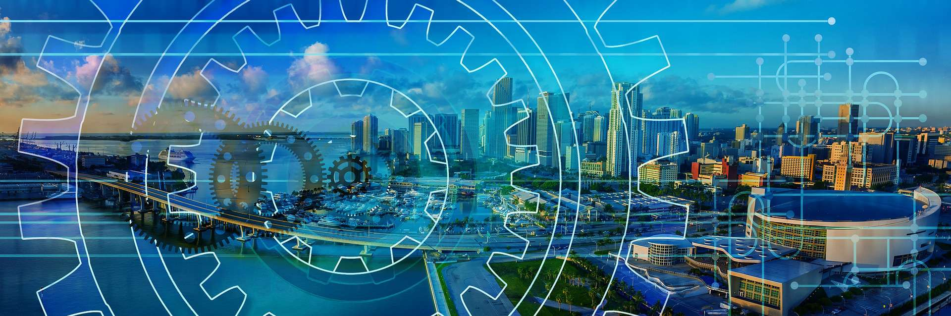 cityscape with gears