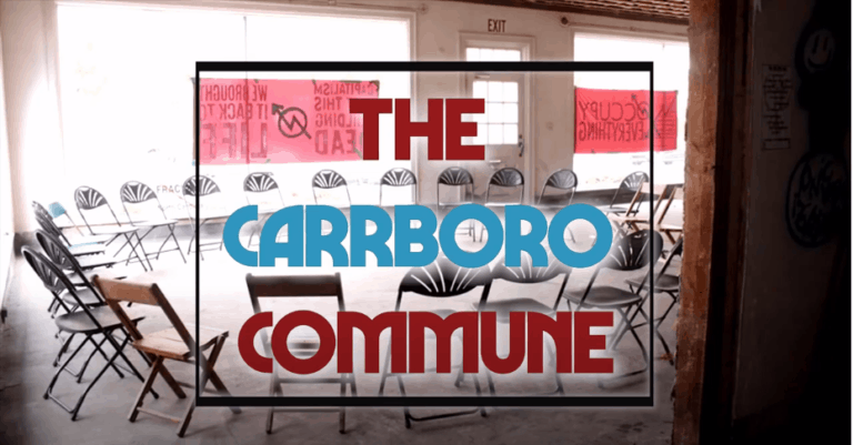 """Circle of chairs with the words """"The Carrboro Commune"""" on top"""