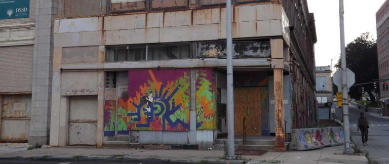 rundown apartment building