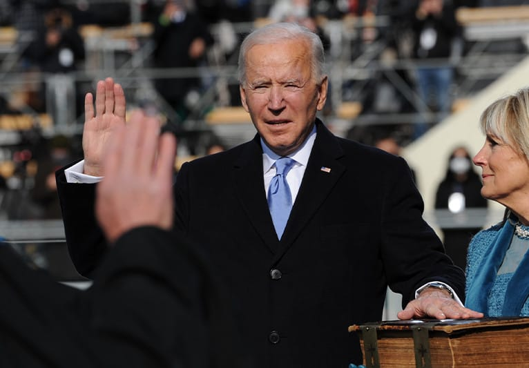 President Biden taking the oath of office to the presidency 2021