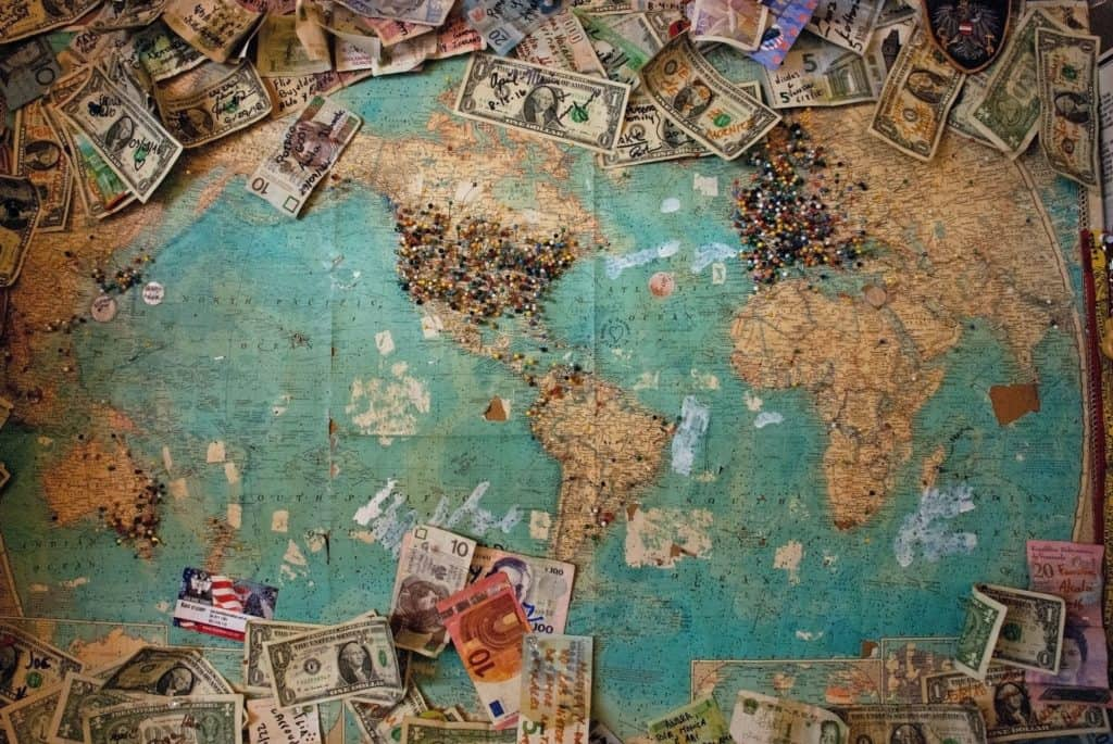 Map of the World with money on it