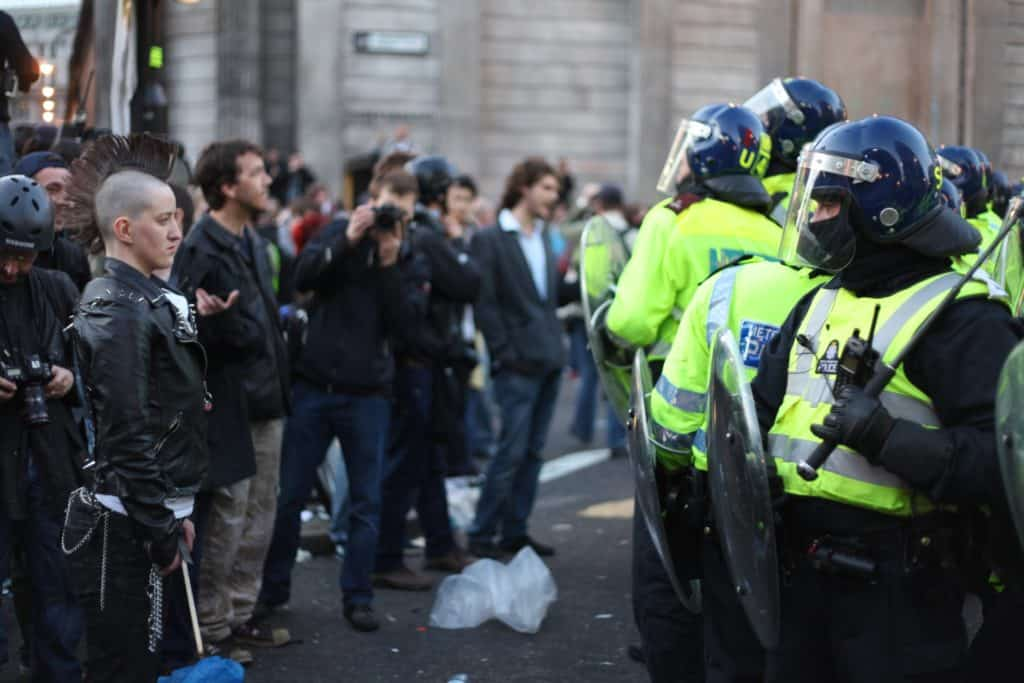 This photo by Jonathan Harrison shows a confrontation between London Police and protestors