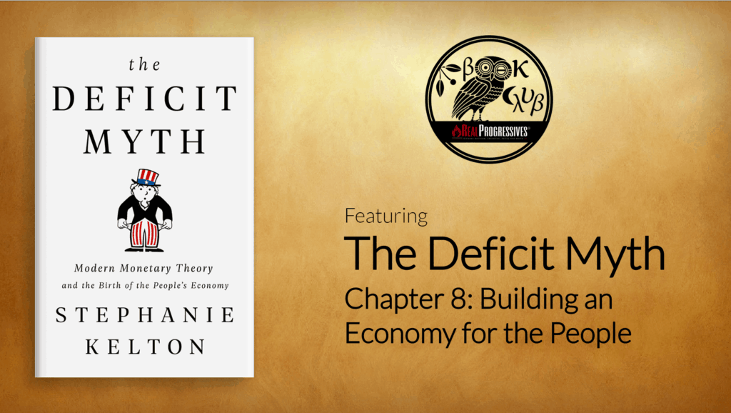 Book Club title slide, The Deficit Myth, Chapter 8