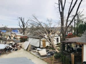 A tornado damaged neighborhood in Nashville Tennessee