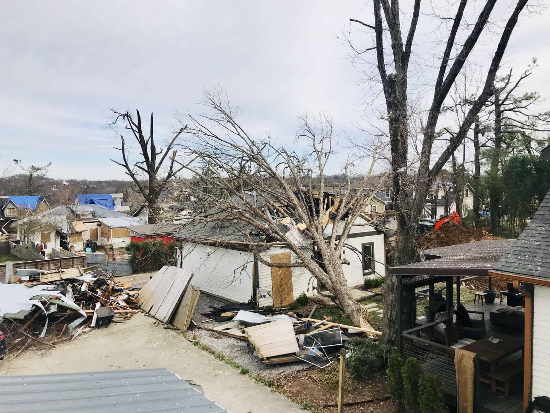 A tornado damaged neighborhood in Nashville Tennessee