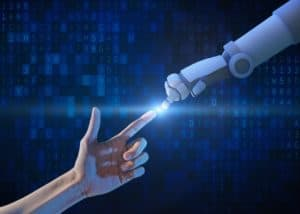 @tampatra stock photo, hand, technology, human, artificial, robot, computer, intelligence, data, binary, ai Human hand and robot hand with binary number code and light on blue screen background, artificial intelligence, AI, in futuristic digital technology concept