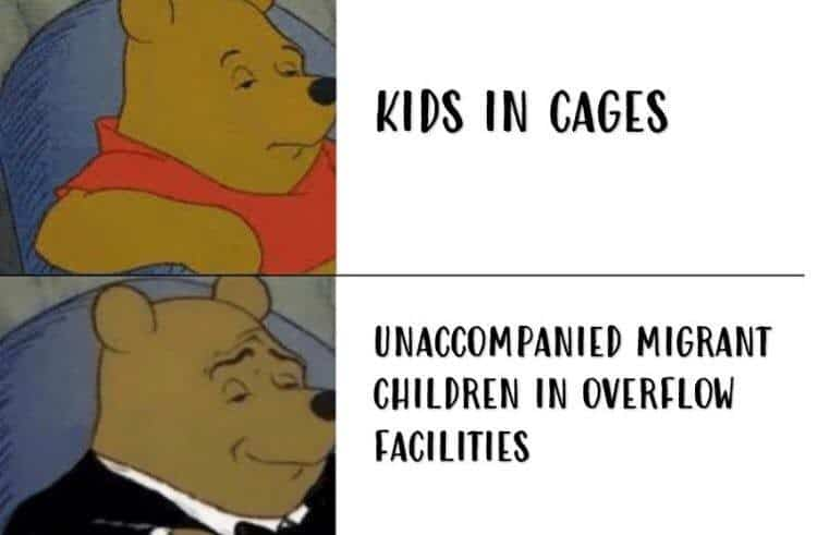 "Regular Pooh Bear: ""Kids in Cages"" Bespoke Pooh Bear: "" Unaccompanied Migrant Children in Overflow Facilities"""