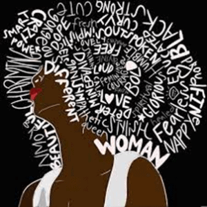 painting of a woman with hair made of words like woman, power, different, black, strong, bold, beautiful