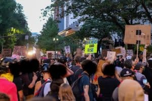 BLM protesters against police brutality, George Floyd