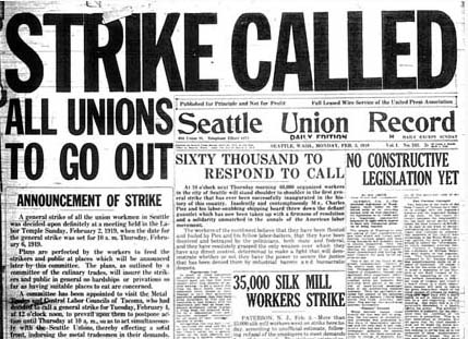 The front page of the Seattle Union Record at the beginning of the Seattle General Strike.