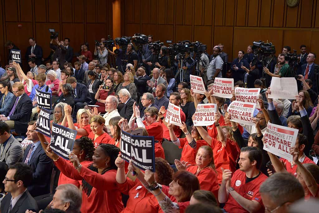 A crowd that demands Medicare for All