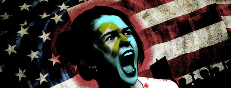 Screaming white woman in front of a US flag