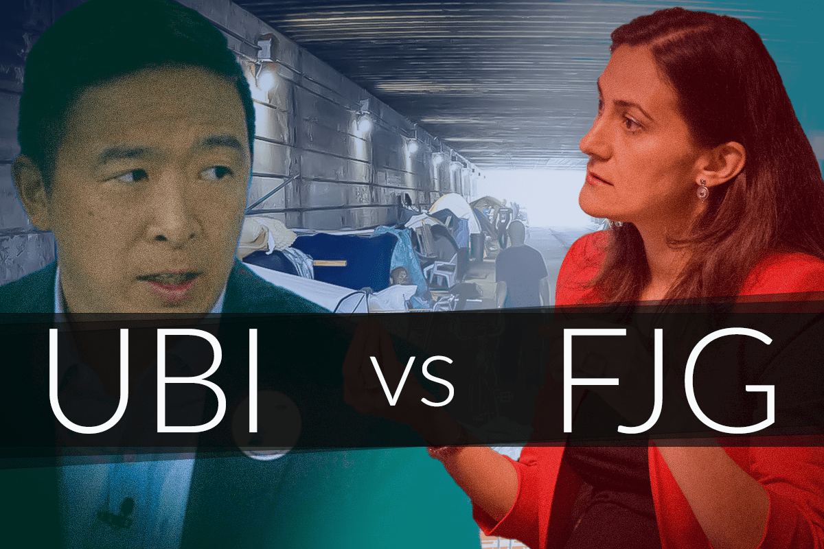 Picture of Andrew Yang and Pavlina Tcherneva with UBI vs FJG across the middle