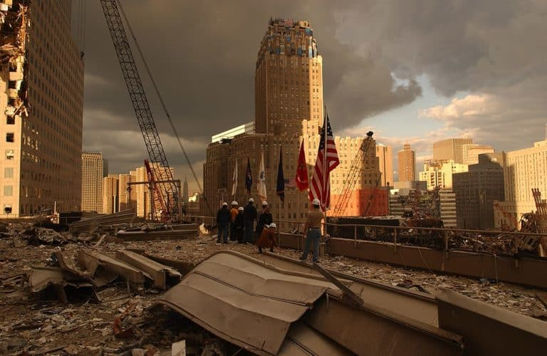 The aftermath of the destruction of the WTC in NY