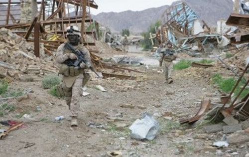 The scene in Now Zad, Helmand Province, Afghanistan after U.S. Marines arrived
